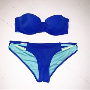 Victoria's Secret Royal Blue Bandeau Bikini 32B SP